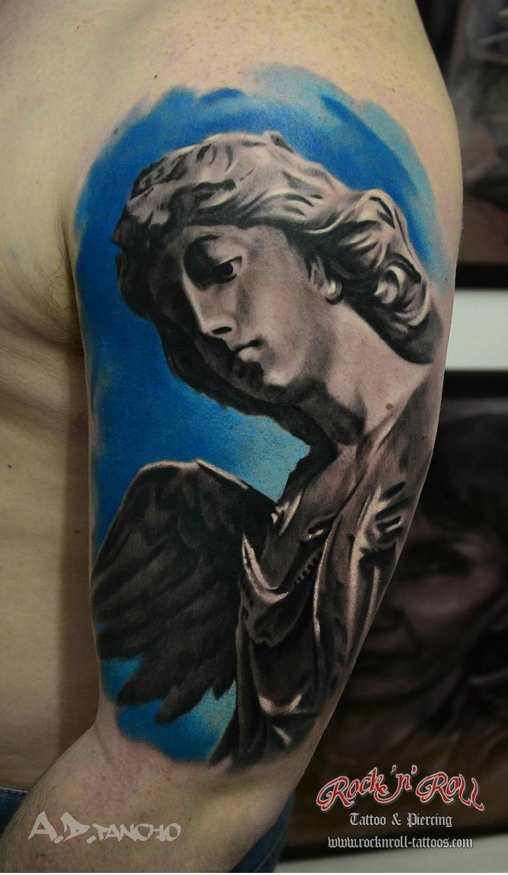 Marble Angel Tattoo By Ad Pancho Best Tattoo Ideas Gallery