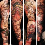 Mario Brothers Characters tattoo sleeve