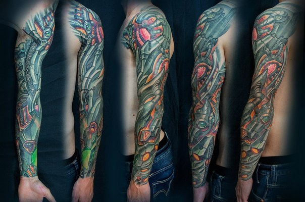 Metal Hand Biomechanical tattoo sleeve by Vasili Pankov