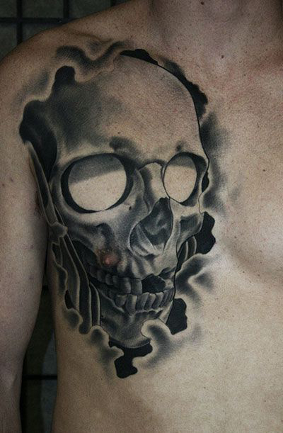 Mirror Eyed 3D Scull tattoo