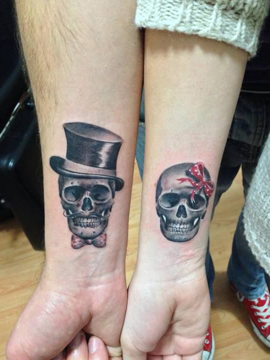 Mister and Missis Skeleton Couple tattoo