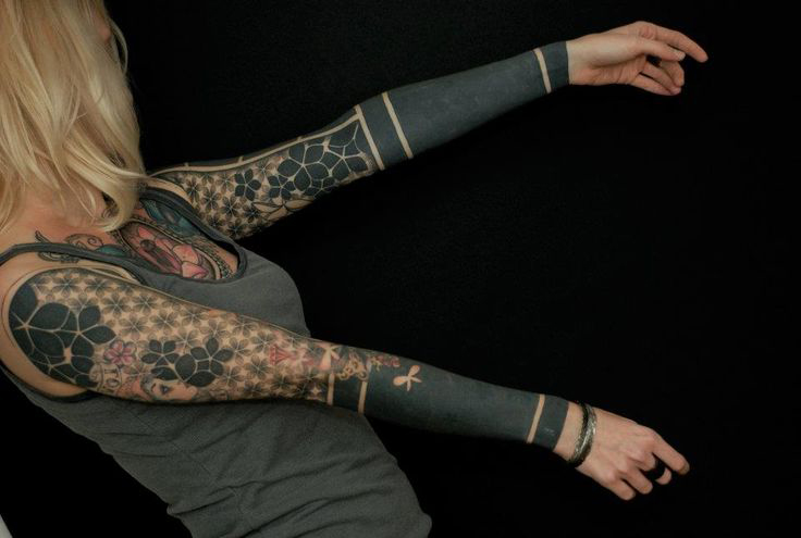 Mix od blackwork tattoo sleeves for girl best tattoo for How to blend tattoos into a sleeve
