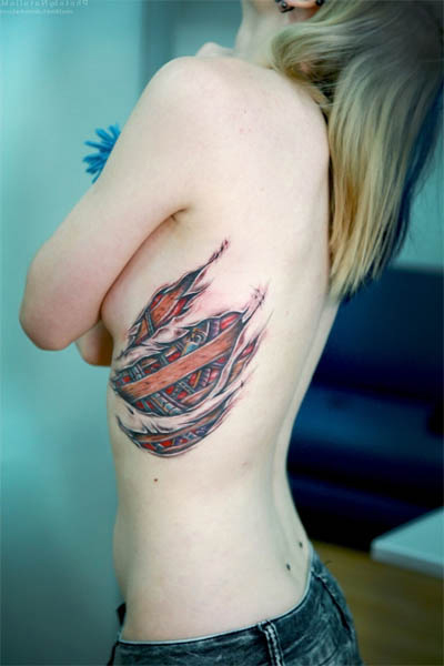 Modified Ribs Tattoo for Girl