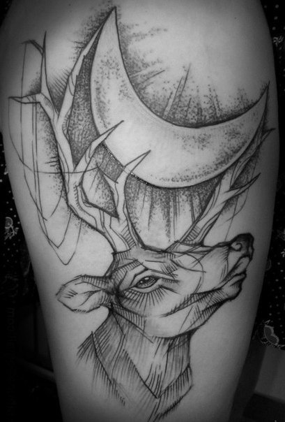 Moon Howling Deer Graphic tattoo idea