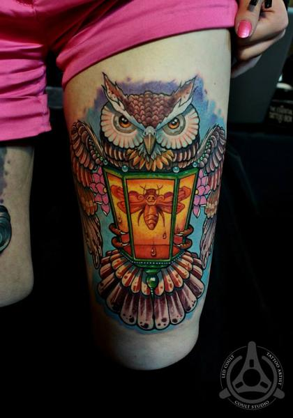 Moth Lantern Holding Owl tattoo by Led Coult