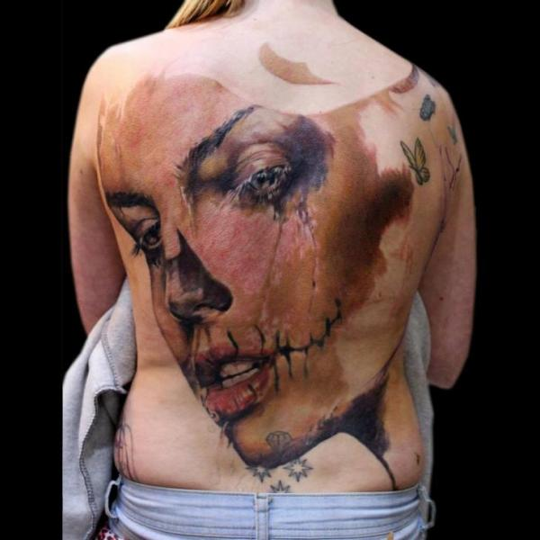 Muerte Full Back Girl tattoo by Jak Connolly