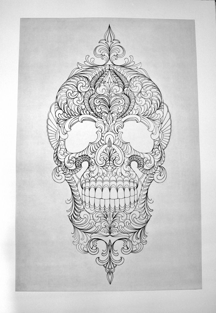 Muerte Scull tattoo sketch