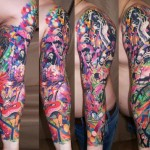 Music Solo Aquarelle tattoo sleeve