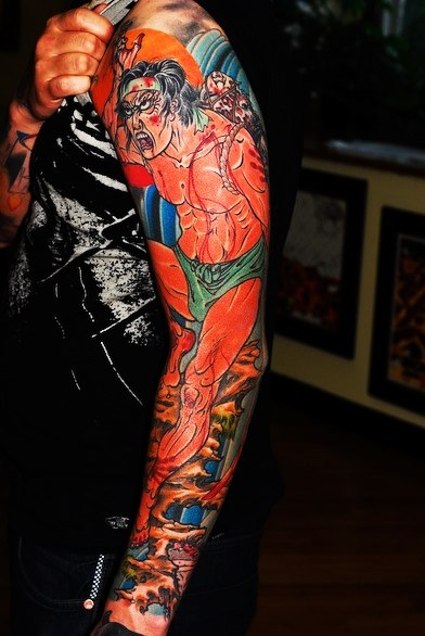 Naked Wounded Japanese Man tattoo sleeve