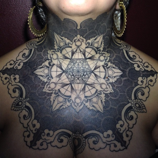 Neck Mandala Blackwork tattoo idea