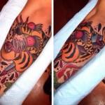 New School Dagger Stabbed Tiger tattoo by Chopstick Tattoo