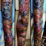 New School Skull tattoo sleeve
