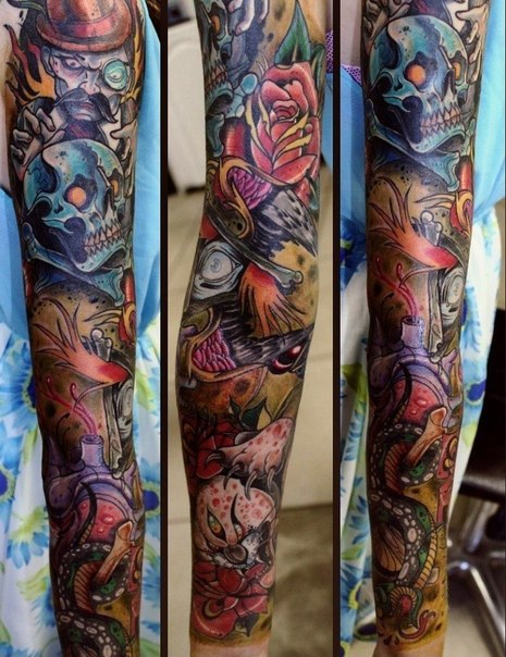 New School Scull tattoo sleeve
