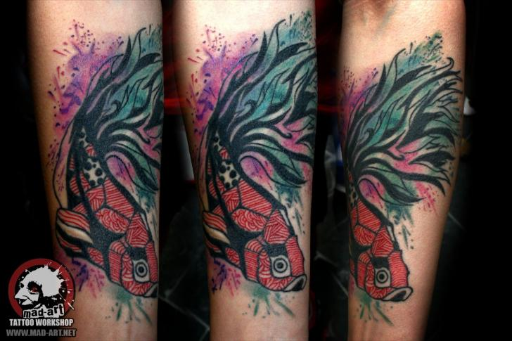 Nice Fish Aquarelle tattoo by Mad-art Tattoo
