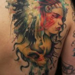 Nice Girl and Skull Indian tattoo on Shoulder Back