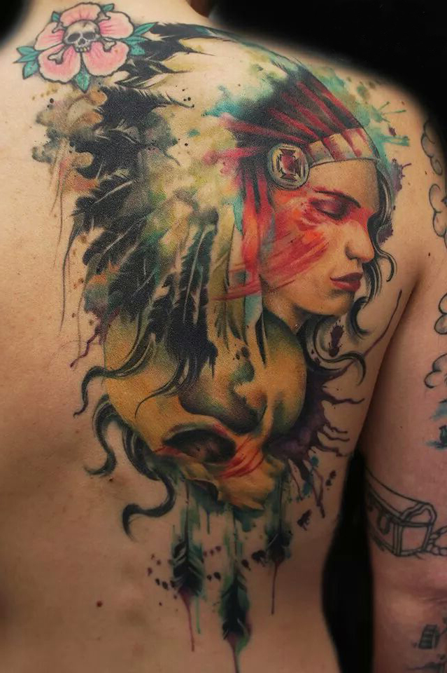 nice girl and skull indian tattoo on shoulder back best