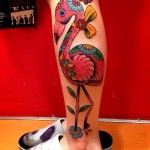 Nice New School Pink Flamingo tattoo by Chopstick Tattoo