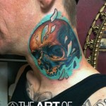 Nice Skull Neck tattoo by The Art of London
