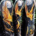 Night Burning Phoenix tattoo sleeve