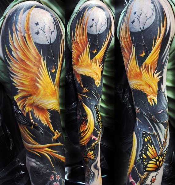 Night Burning Phoenix tattoo sleeve