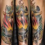 Night Moth to Lantern New School tattoo by Last Angels Tattoo