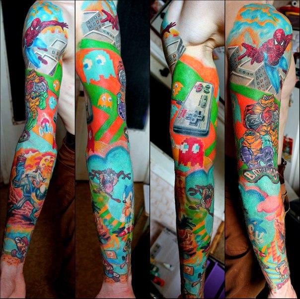 Nintendo New School tattoo sleeve by Sasha Elvis
