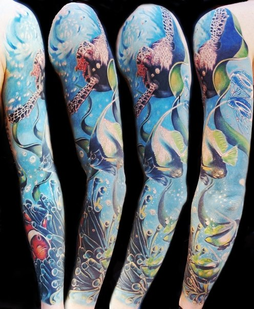 Ocean Turtle and Fish tattoo sleeve