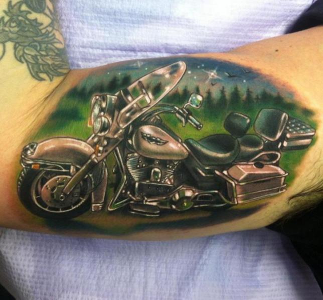 Old Harley Davidson tattoo by Johnny Smith Art