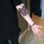 Old School Forearm Rose tattoo