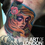 Old School Girl Face Neck tattoo by The Art of London