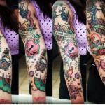 Old School Girl Gramophone tattoo sleeve
