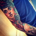 Old School Girl tattoo sleeve by Vitalii Morozov