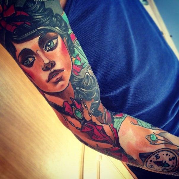 Old School Girl tattoo sleeve by Vitalii Morozov