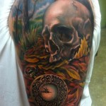 Old Watch Skull tattoo by Johnny Smith Art