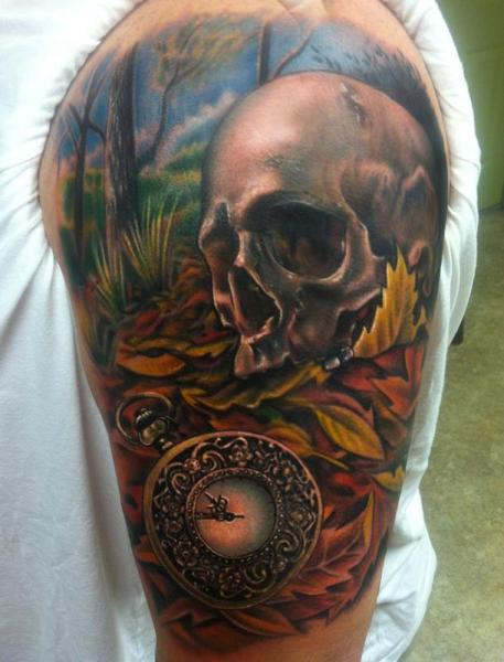 Old Watch Scull tattoo by Johnny Smith Art
