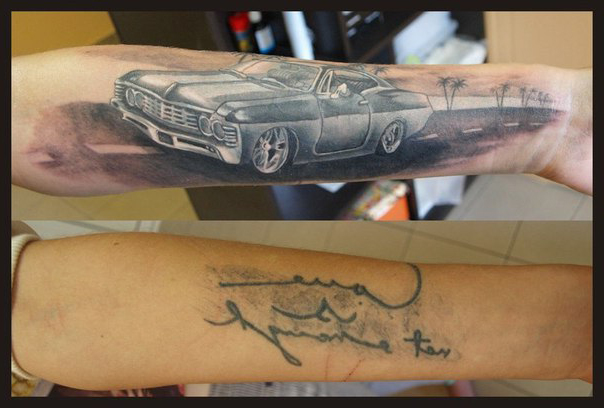 Old car Cover Up tattoo design