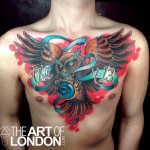 Owl Clock Chest tattoo by The Art of London