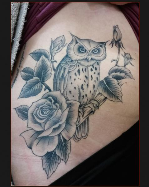 Owl and Roses tattoo by Chapel tattoo