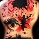Pain Spots Trash Polka tattoo on back