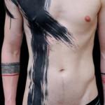 Paint Brush black Stroke Trash Polka tattoo on Body