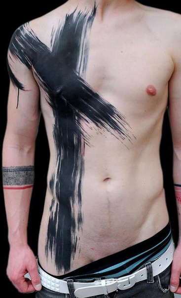 Paint Brush black Stroke Trash Polka tattoo on Body