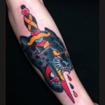 Panther Bloody Dagger tattoo by Chapel tattoo