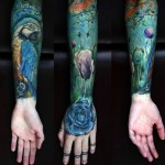 Parrot Blue Rose tattoo sleeve