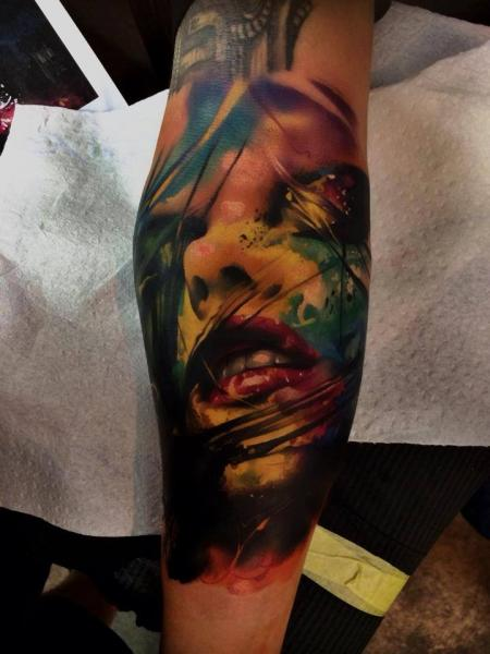 Passionate Face Aquarelle tattoo by Samuel Potuček