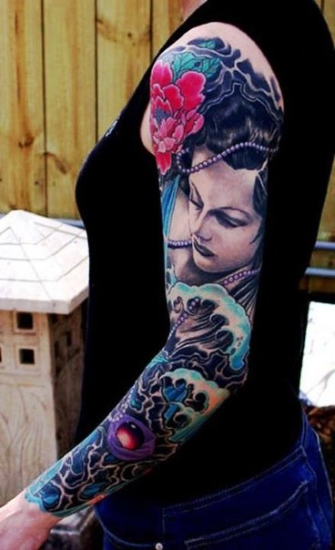 Pearl Necklace Japanese Girl tattoo sleeve