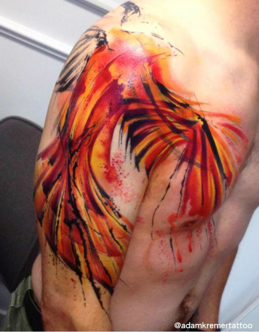 Phoenix Wings Aquarelle tattoo by Adam Kremer in Progress