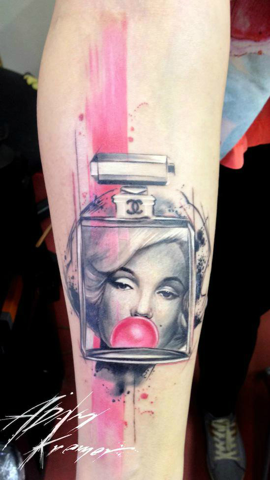 Pink Marilyn Monroe Parfume Trash Polka Aquarelle tattoo by Adam Kremer