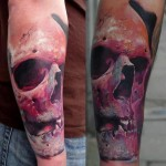 Pink Old Skull 3D tattoo by Piranha Tattoo Studio