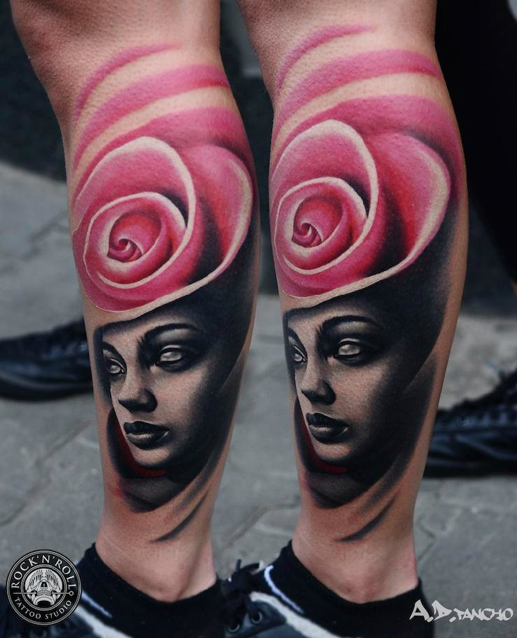 Pink Rose Head tattoo by AD Pancho
