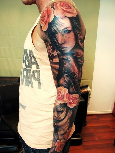 Pink Roses in Hair Girl and Bird tattoo sleeve